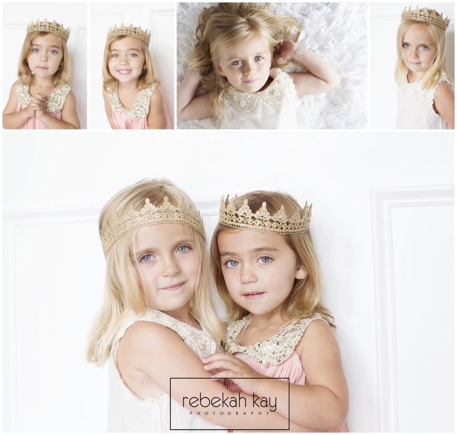 Princess photo session with gold crowns