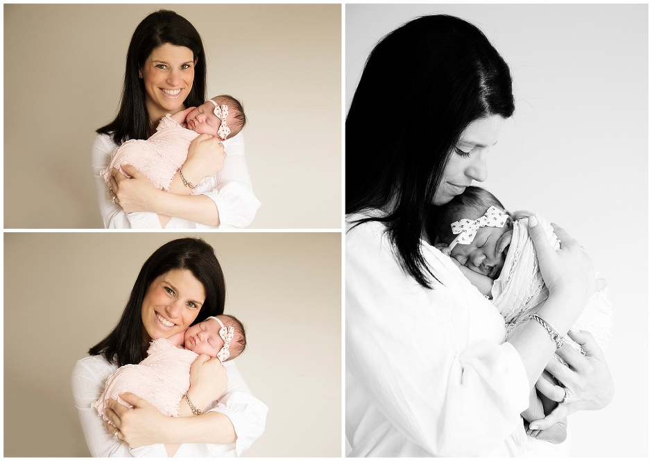 NH Newborn Photographer Baby Girl and Big Sister in Natural Light Studio